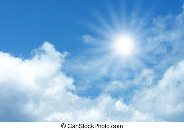 blå himmel, hos, skyer