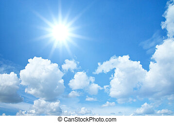 blå himmel, hos, skyer, og, sol
