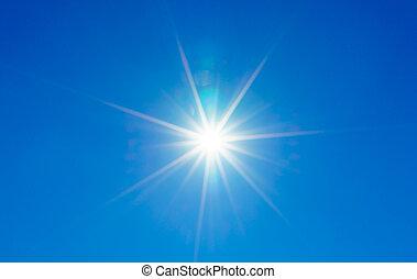 blå himmel, hos, sol