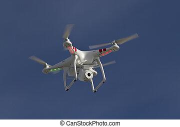 blå himmel, lille, kamera, unmanned, helicopter, flyde