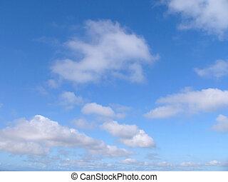 blå himmel, og, skyer