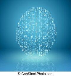 blå, hjärna, bakgrund, digital