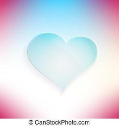 blå, hjärta, glasaktig, vacker, vektor, icon.