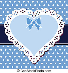 blå, hjärta, spets