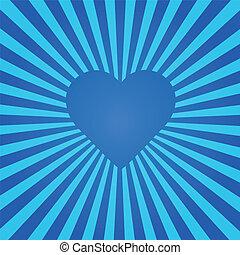blå, hjärta, sunburst