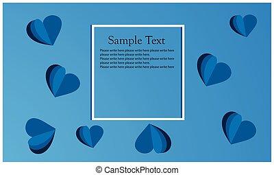 blå, hjärta, symbol, bakgrund