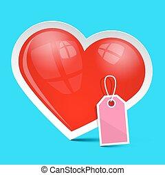 blå, hjärta, symbol, etikett, vektor, bakgrund, tom