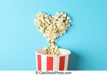 blå, hjärta, utrymme, text, hink, bakgrund, popcorn, randig