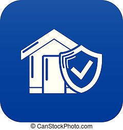 blå, hjem, vektor, forsikring, ikon