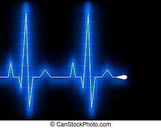 blå, hjerte, beat., ekg., graph., eps, 8