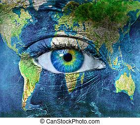 blå, hman, planet, ögon, mull