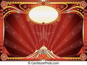 blå, horisontal, cirkus, bakgrund
