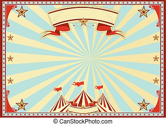 blå, horisontal, cirkus, solstrålar
