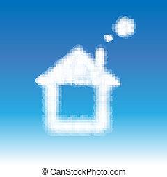 blå hus, abstrakt, skyer, himmel