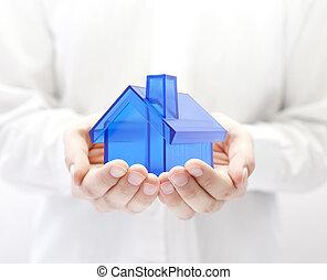blå hus, ind, hænder