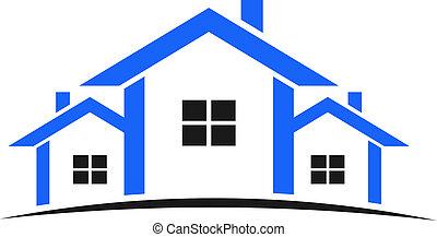 blå, hus, logo