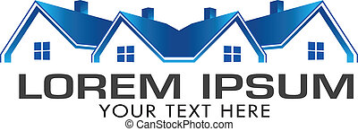blå, huse, egentlig estate, image., vektor, ikon