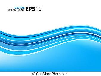 blå hvide, bølger, pakke, baggrund