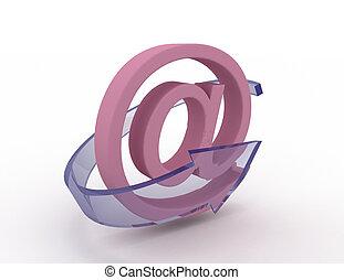 blå, ikon, email, pil, 3