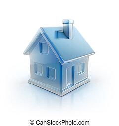 blå, ikon, hus