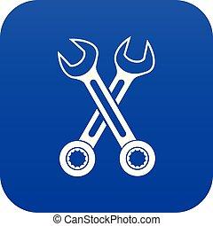 blå, ikon, korsat, skruvnycklar, digital