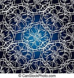 blå, illustration., årgång, seamless, mönster, hand, mörk, vektor, bakgrund, oavgjord, design
