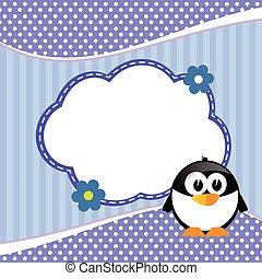blå, illustration, djur, baner, barn, pingvin