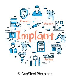blå, implantat, begrepp, runda