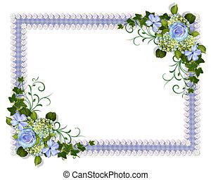 blå, inbjudan, bröllop, blommig
