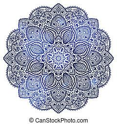 blå, indisk, ornamentere