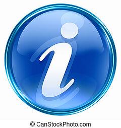 blå, information, ikon