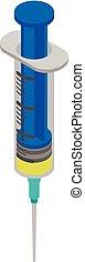 blå, injektionssprøjte, ikon, isometric, firmanavnet