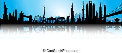 blå, internationell, horisont