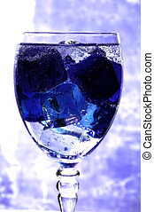 blå is, ind, en, glas
