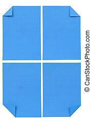 blå, isolerat, kollektion, papper, olika, vit