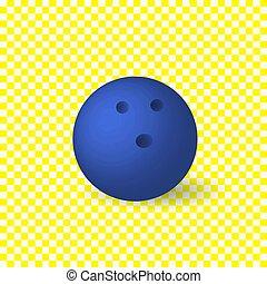 blå, isolerat, object., vektor, bakgrund, bowling, vita kula