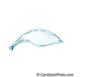 blå, isolerat, vatten, plaska, bakgrund, vit