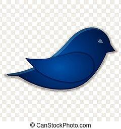 blå, isoleret, transparent, baggrund., fugl, ikon