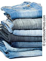 blå, jeans., denim