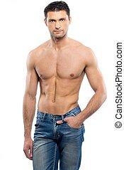 blå jeans, unge, nøgne, mand, torso, pæn