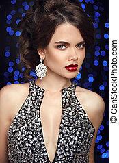blå, jewelry., mode, studio, skönhet, bakgrund., lyse, frisyr, isolerat, makeup., mörk, elegant, diamant, framställ, portrait., örhängen, parti, läpp, dam, röd, kvinnor
