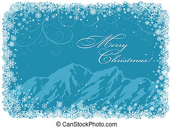 blå, jul, baggrund, hos, bjerge