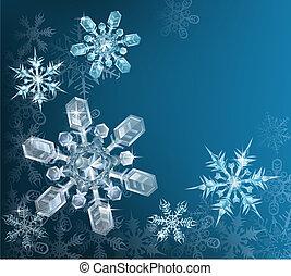 blå, jul, bakgrund, snöflinga