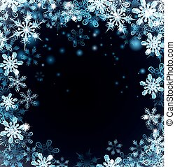 blå, jul, bakgrund, snöflingor