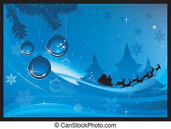 blå, jul, hilsen card