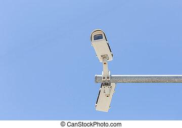 blå, kamera security, himmel, to