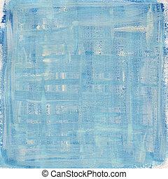 blå, kanfas, abstrakt, struktur, vattenfärg, vit