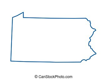 blå, karta, abstrakt, pennsylvania, skissera