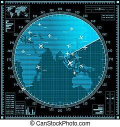 blå, karta, avskärma, radar, flygmaskiner, värld
