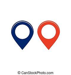blå, karta, pekare, isolerat, illustration, vektor, lokalisering, bakgrund, vit, runda, röd, pins.